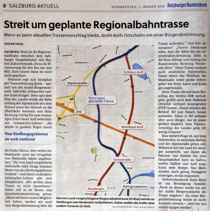 Regionalstadbahn Anif Diskussion um Trasse Gabi Gehmacher